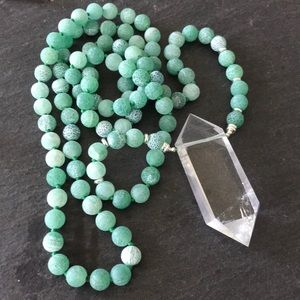 Green weathered agate mala necklace Crystal